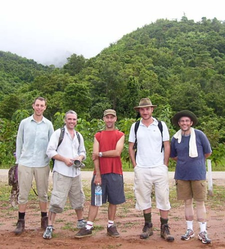 "Lao ""Walkathoners"" Andy, Greg, Shannon, Ben, and David. John joined the walk for the last couple of days."